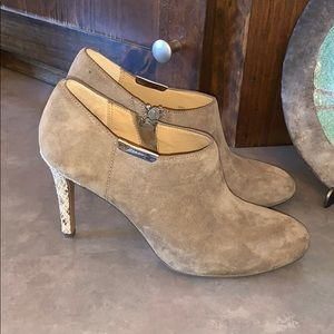 Coach suede leather heeled booties, size 6.5.